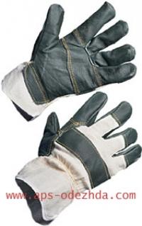 Перчатки утепленные комбинированные кожаные