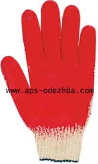 Перчатки трикотажные ПВХ ладонь латекс одинарный облив 13 класс вязки